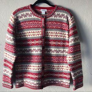 Vintage 80s Gallagher Fair Isle Cardigan Sweater
